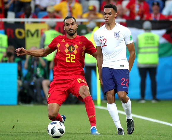 epa06848348 Trent Alexander-Arnold of England (R) and Nacer Chadli of Belgium in action during the FIFA World Cup 2018 group G preliminary round soccer match between England and Belgium in Kaliningrad, Russia, 28 June 2018.