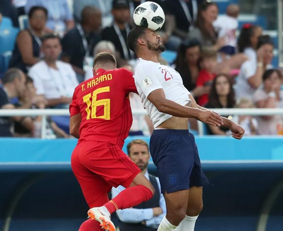 epa06848368 Thorgan Hazard (L) of Belgium and Ruben Loftus-Cheek of England in action during the FIFA World Cup 2018 group G preliminary round soccer match between England and Belgium in Kaliningrad, Russia, 28 June 2018.