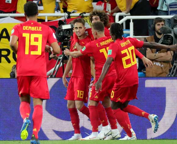 epa06848446 Adnan Januzaj of Belgium (2-L) celebrates with teammates scoring the 1-0 lead during the FIFA World Cup 2018 group G preliminary round soccer match between England and Belgium in Kaliningrad, Russia, 28 June 2018.