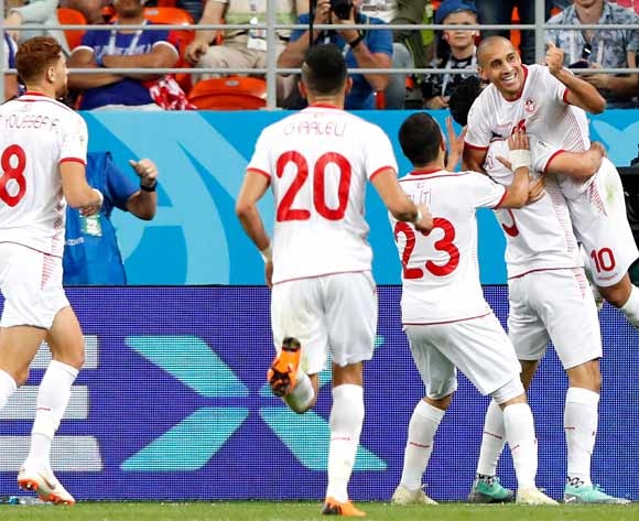 epa06848484 Wahbi Khazri (R) of Tunisia celebrates scoring the 2-1 lead during the FIFA World Cup 2018 group G preliminary round soccer match between Panama and Tunisia in Saransk, Russia, 28 June 2018.