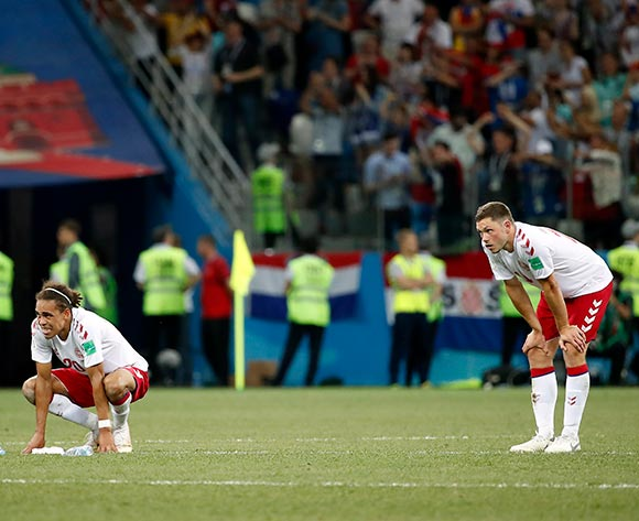 epa06856751 Yussuf Poulsen of Denmark (L) reacts after the FIFA World Cup 2018 round of 16 soccer match between Croatia and Denmark in Nizhny Novgorod, Russia, 01 July 2018.