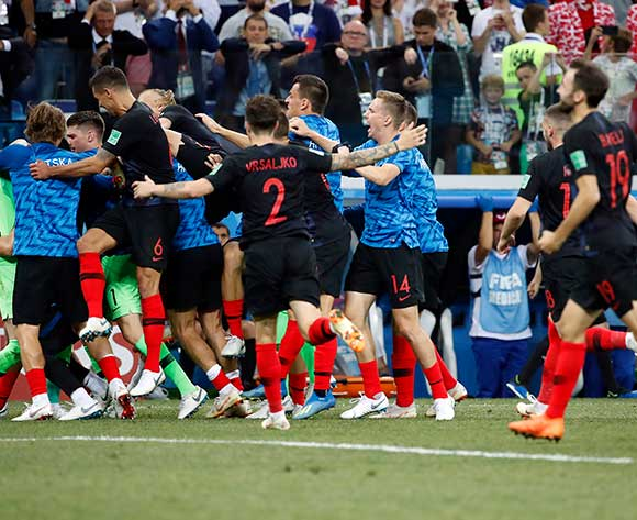epa06856756 Players of Croatia react after the FIFA World Cup 2018 round of 16 soccer match between Croatia and Denmark in Nizhny Novgorod, Russia, 01 July 2018.