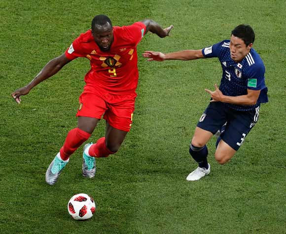Romelu Lukaku of Belgium of Belgium (L) and Gen Shoji of Japan in action the FIFA World Cup 2018 round of 16 soccer match between Belgium and Japan in Rostov-On-Don, Russia, 02 July 2018.