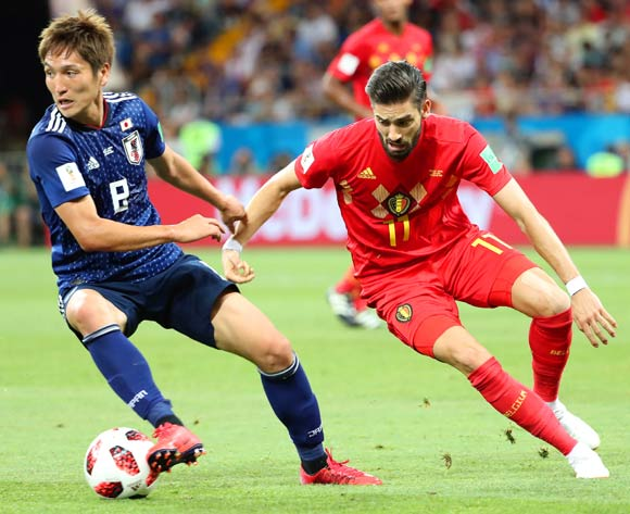 epa06859076 Genki Haraguchi (L) of Japan in action against Yannick Carrasco (R) of Belgium during the FIFA World Cup 2018 round of 16 soccer match between Belgium and Japan in Rostov-On-Don, Russia, 02 July 2018.