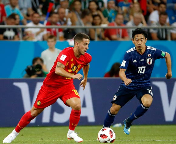 Eden Hazard (L) of Belgium and Shinji Kagawa of Japan in action during the FIFA World Cup 2018 round of 16 soccer match between Belgium and Japan in Rostov-On-Don, Russia, 02 July 2018.