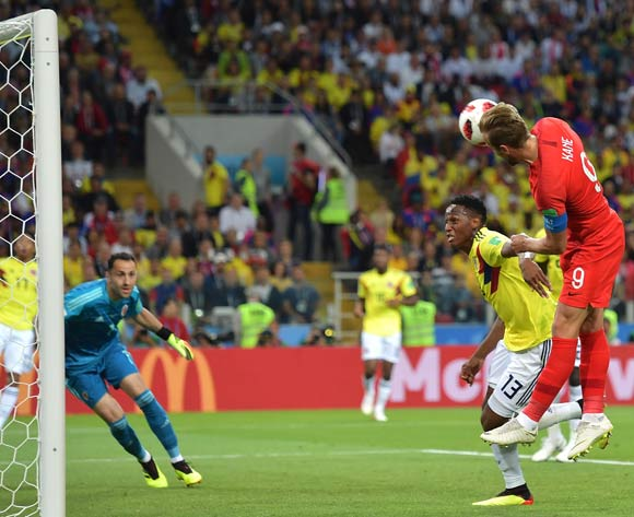 epa06861961 Harry Kane of England goes for a header during the FIFA World Cup 2018 round of 16 soccer match between Colombia and England in Moscow, Russia, 03 July 2018.