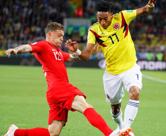 Johan Mojica (R) of Colombia in action against Kieran Trippier (L) of England during the FIFA World Cup 2018 round of 16 soccer match between Colombia and England in Moscow, Russia, 03 July 2018.