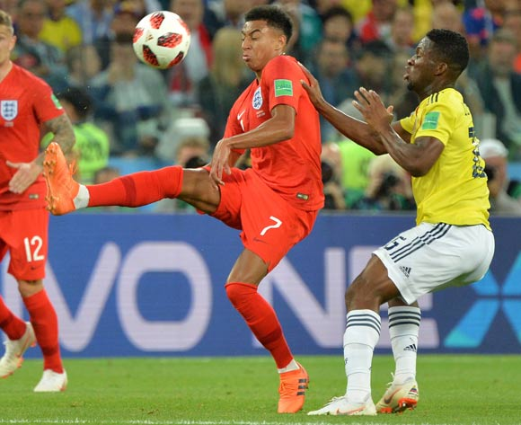epa06861980 Jesse Lingard (C) of England in action during the FIFA World Cup 2018 round of 16 soccer match between Colombia and England in Moscow, Russia, 03 July 2018.