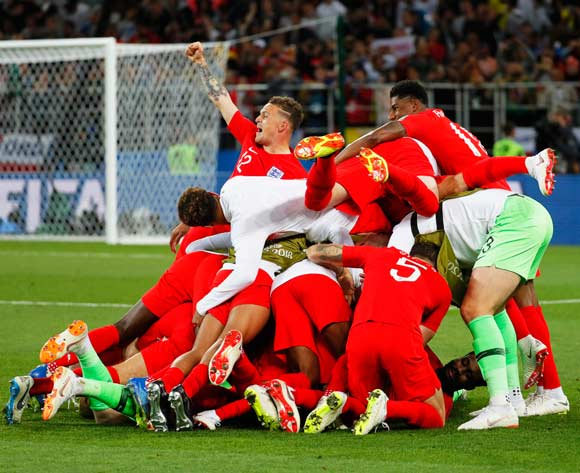 Players of England celebrate after the penalty shootout of the FIFA World Cup 2018 round of 16 soccer match between Colombia and England in Moscow, Russia, 03 July 2018. England won 4-3 on penalties.