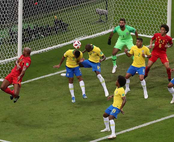 epa06869268 Fernandinho of Brazil (3L) scores an own goal during the FIFA World Cup 2018 quarter final soccer match between Brazil and Belgium in Kazan, Russia, 06 July 2018.