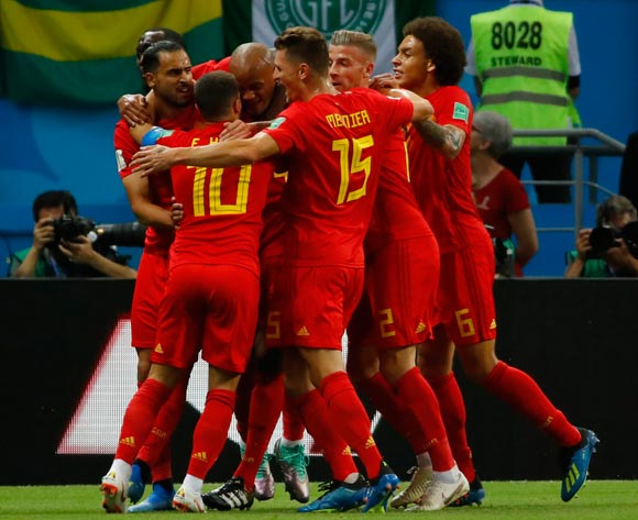 Players of Belgium celebrate the 1-0 lead during the FIFA World Cup 2018 quarter final soccer match between Brazil and Belgium in Kazan, Russia, 06 July 2018.
