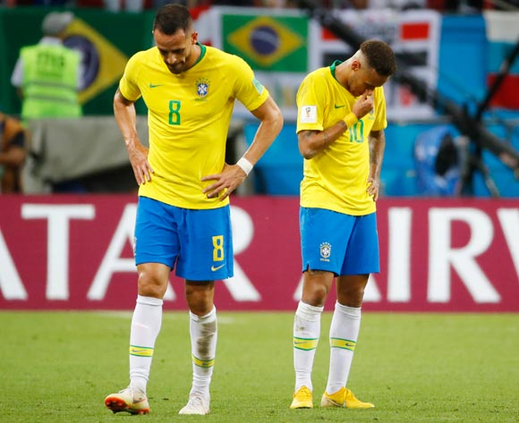 epa06869803 Neymar (R) and Renato Augusto of Brazil react after the FIFA World Cup 2018 quarter final soccer match between Brazil and Belgium in Kazan, Russia, 06 July 2018. Brazil lost the match 1-2.