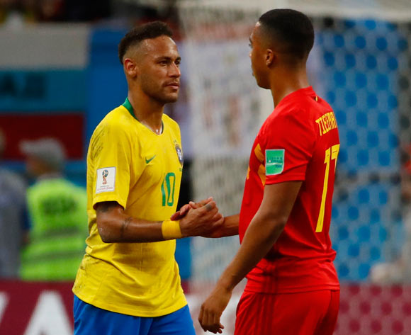 Neymar (L) of Brazil shakes hands with Youri Tielemans of Belgium after the FIFA World Cup 2018 quarter final soccer match between Brazil and Belgium in Kazan, Russia, 06 July 2018. Brazil lost the match 1-2.