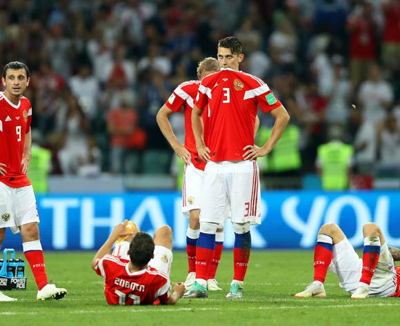 epa06872776 Players of Russia react during the penalty shootout of the FIFA World Cup 2018 quarter final soccer match between Russia and Croatia in Sochi, Russia, 07 July 2018. Croatia won 4-3 on penalties.