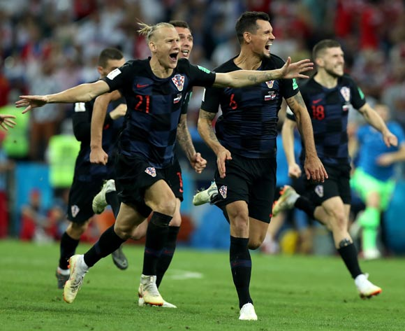 epa06872785 Players of Croatia celebrate winning the penalty shoutout of the FIFA World Cup 2018 quarter final soccer match between Russia and Croatia in Sochi, Russia, 07 July 2018.