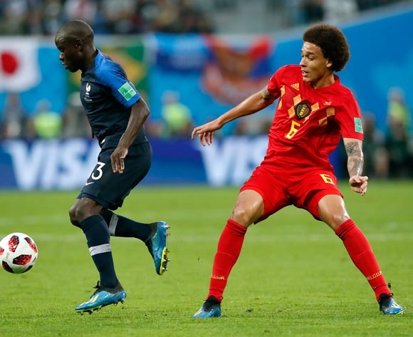 epa06878749 Ngolo Kante of France (L) and Axel Witsel of Belgium in action during the FIFA World Cup 2018 semi final soccer match between France and Belgium in St.Petersburg, Russia, 10 July 2018.