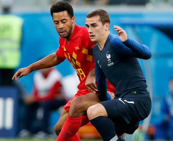 Antoine Griezmann of France (R) and Moussa Dembele of Belgium in action during the FIFA World Cup 2018 semi final soccer match between France and Belgium in St.Petersburg, Russia, 10 July 2018.
