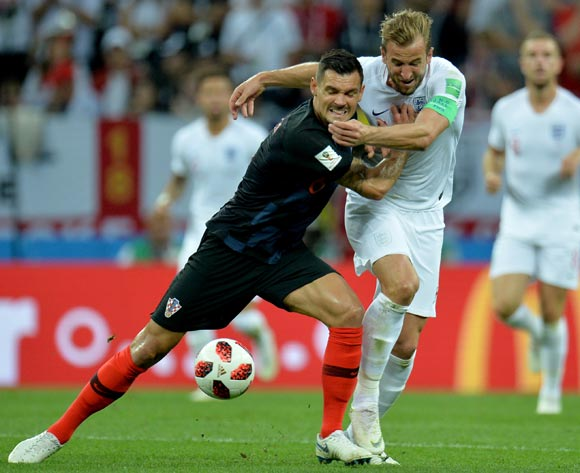 Dejan Lovren(L) of Croatian and Harry Kane of England in action during the FIFA World Cup 2018 semi final soccer match between Croatia and England in Moscow,Russia, 11 July 2018