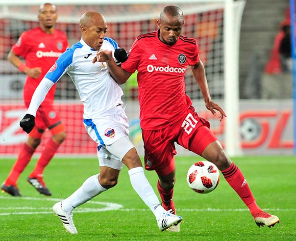 Kurt Lentjies of Captain of Chippa United and Xolani Mlambo of Orlando Pirates, during the Absa Premiership 2018/19 game between Chippa United and Orlando Pirates at Nelson Mandela Bay Stadium, Port Elizabeth on 8 August 2018 © Deryck Foster/BackpagePix