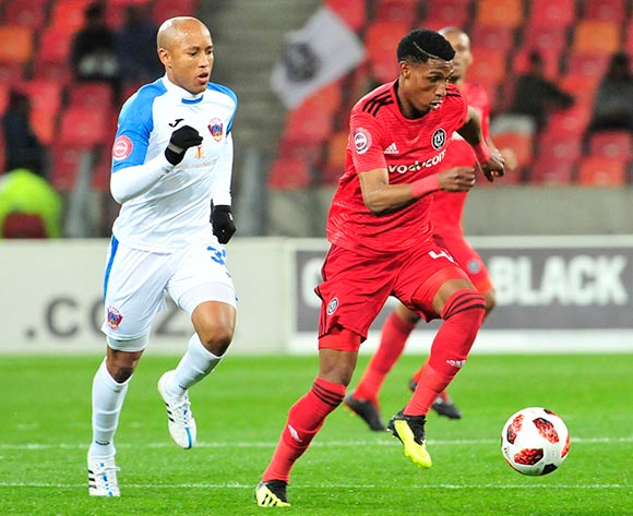 Kurt Lentjies of Captain of Chippa United and Maliele Vincent Pule of Orlando Pirates, during the Absa Premiership 2018/19 game between Chippa United and Orlando Pirates at Nelson Mandela Bay Stadium, Port Elizabeth on 8 August 2018 © Deryck Foster/BackpagePix