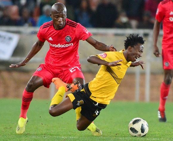 Tumelo Khutlang of Black Leopards and Ben Motshwari of Orlando Pirates during the Absa Premiership 2018/19 game between Black Leopards and Orlando Pirates at Peter Mokaba Stadium in Polokwane the on 28 August 2018 © Kabelo Leputu/BackpagePix