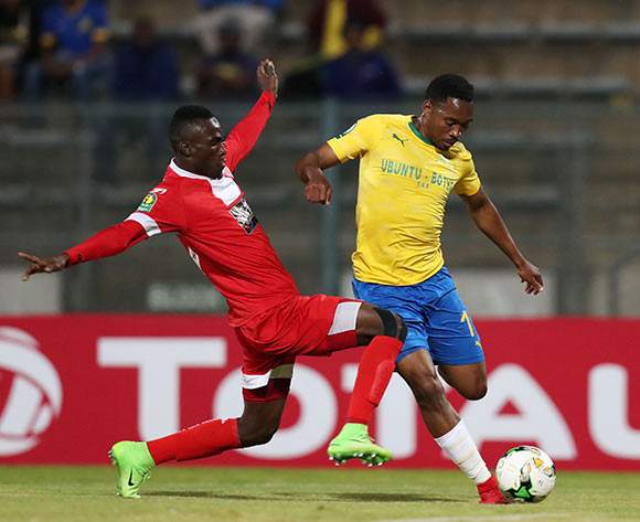 Sibusiso Vilakazi of Mamelodi Sundowns tackled by Abou Camara of Horoya during the 2018 CAF Champions League match between Mamelodi Sundowns and Horoya at the Lucas Moripe Stadium, Atteridgeville on 28 August 2018 ©Muzi Ntombela/BackpagePix