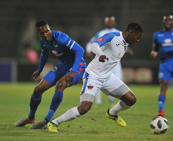 Zitha Macheke of Chippa United is challenged by Evans Rusike of Supersport United  during the Absa Premiership match between Supersport United and Chippa United on the 29 August 2018 at Lucas Moripe Stadium/ Pic Sydney Mahlangu/BackpagePix