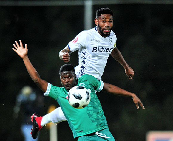 Jabulani Ncobeni of AmaZulu challenged by Thulani Hlatshwayo of Bidvest Wits during the Absa Premiership 2018/19 match between Bidvest Wits and AmaZulu at Bidvest Stadium, Johannesburg on 29 August 2018 ©Samuel Shivambu/BackpagePix