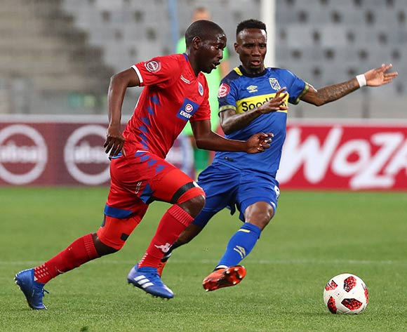 Aubrey Modiba of Supersport United challenged by Teko Modise of Cape Town City FC during the Absa Premiership 2018/19 football match between Cape Town City FC and SuperSport United at Cape Town Stadium, Cape Town on 4 August 2018 ©Chris Ricco/BackpagePix