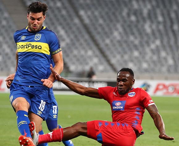 Roland Putsche of Cape Town City FC tackled by Onismor Bhasera of Supersport United during the Absa Premiership 2018/19 football match between Cape Town City FC and SuperSport United at Cape Town Stadium, Cape Town on 4 August 2018 ©Chris Ricco/BackpagePix