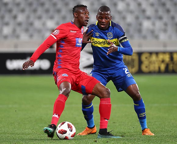 Evans Rusike of Supersport United challenged by Thamsanqa Mkhize of Cape Town City FC during the Absa Premiership 2018/19 football match between Cape Town City FC and SuperSport United at Cape Town Stadium, Cape Town on 4 August 2018 ©Chris Ricco/BackpagePix