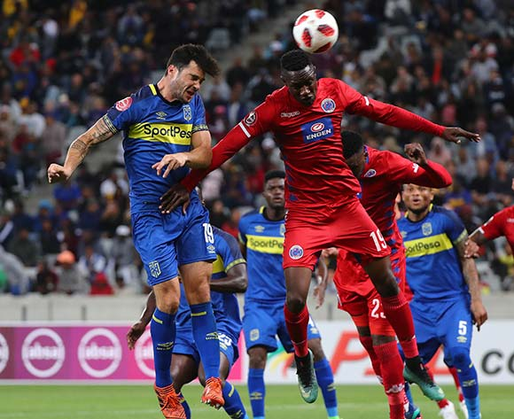 Roland Putsche of Cape Town City FC battles for the ball with Evans Rusike of Supersport United during the Absa Premiership 2018/19 football match between Cape Town City FC and SuperSport United at Cape Town Stadium, Cape Town on 4 August 2018 ©Chris Ricco/BackpagePix