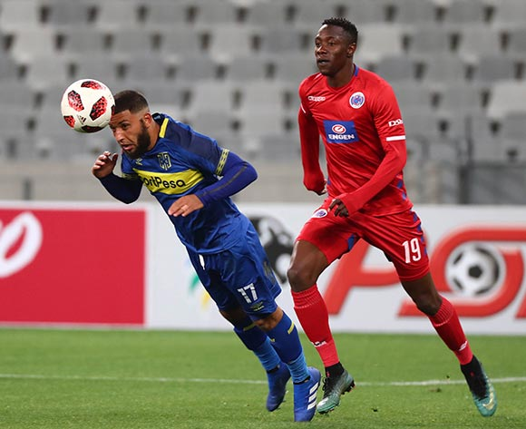 Riyaad Norodien of Cape Town City FC clears ball from Evans Rusike of Supersport United during the Absa Premiership 2018/19 football match between Cape Town City FC and SuperSport United at Cape Town Stadium, Cape Town on 4 August 2018 ©Chris Ricco/BackpagePix
