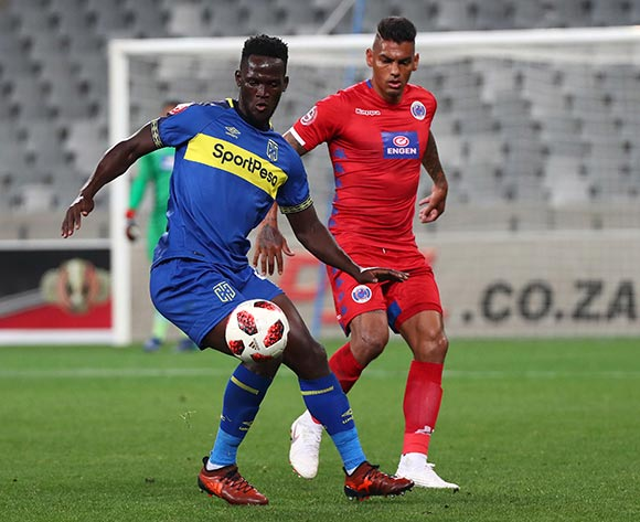 Siphelele Mthembu of Cape Town City FC challenged by Clayton Daniels of Supersport United during the Absa Premiership 2018/19 football match between Cape Town City FC and SuperSport United at Cape Town Stadium, Cape Town on 4 August 2018 ©Chris Ricco/BackpagePix