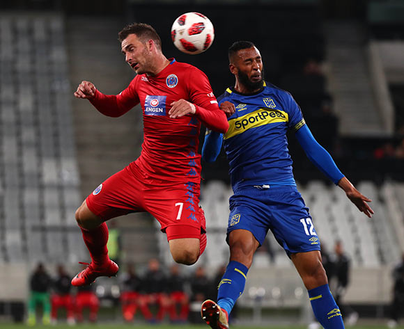 Bradley Grobler of Supersport United battles for the ball with Taariq Fielies of Cape Town City FC during the Absa Premiership 2018/19 football match between Cape Town City FC and SuperSport United at Cape Town Stadium, Cape Town on 4 August 2018 ©Chris Ricco/BackpagePix