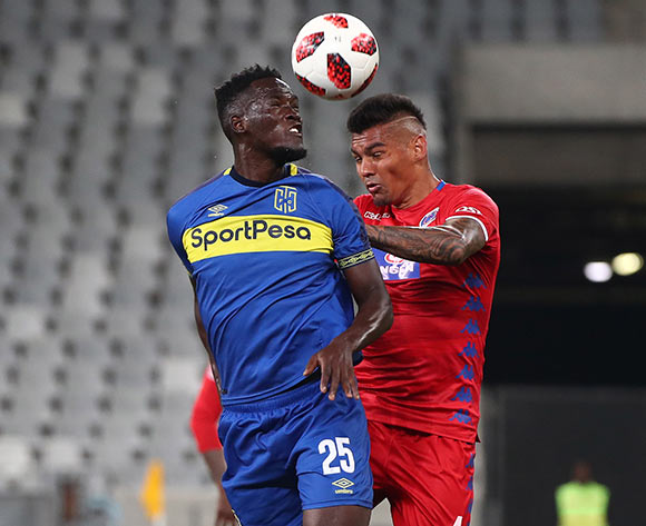 Siphelele Mthembu of Cape Town City FC battles for the ball with Clayton Daniels of Supersport United during the Absa Premiership 2018/19 football match between Cape Town City FC and SuperSport United at Cape Town Stadium, Cape Town on 4 August 2018 ©Chris Ricco/BackpagePix