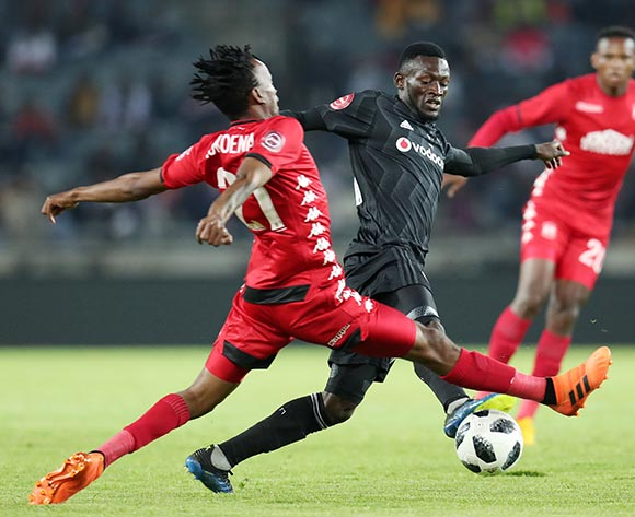 Augustine Mulenga of Orlando Pirates challenged by Luckyboy Mokoena of Highlands Park during the Absa Premiership 2018/19 match between Orlando Pirates and Highlands Park at the Orlando Stadium, Soweto on 04 August 2018 ©Muzi Ntombela/BackpagePix