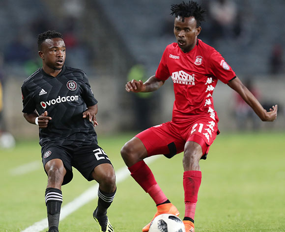 Paseka Mako of Orlando Pirates challenged by Luckyboy Mokoena of Highlands Park during the Absa Premiership 2018/19 match between Orlando Pirates and Highlands Park at the Orlando Stadium, Soweto on 04 August 2018 ©Muzi Ntombela/BackpagePix