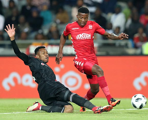 Sabelo Nyembe of Highlands Park tackled by Happy Jele of Orlando Pirates during the Absa Premiership 2018/19 match between Orlando Pirates and Highlands Park at the Orlando Stadium, Soweto on 04 August 2018 ©Muzi Ntombela/BackpagePix