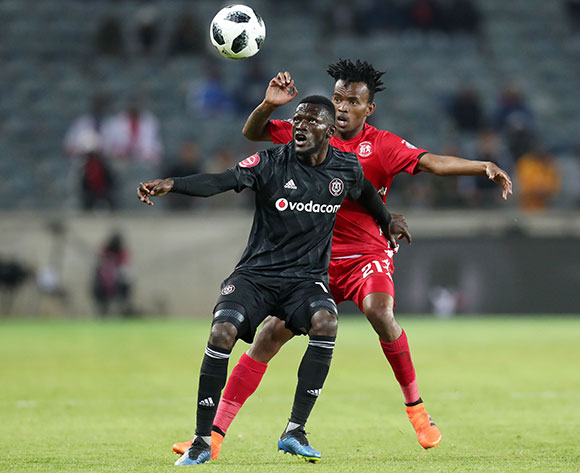Augustine Mulenga of Orlando Pirates shields ball from Luckyboy Mokoena of Highlands Park during the Absa Premiership 2018/19 match between Orlando Pirates and Highlands Park at the Orlando Stadium, Soweto on 04 August 2018 ©Muzi Ntombela/BackpagePix