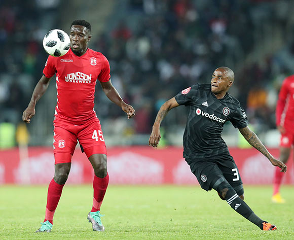 Denzil Haoseb of Highlands Park challenged by Thembinkosi Lorch of Orlando Pirates during the Absa Premiership 2018/19 match between Orlando Pirates and Highlands Park at the Orlando Stadium, Soweto on 04 August 2018 ©Muzi Ntombela/BackpagePix