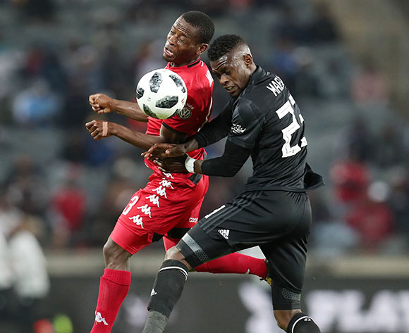 Innocent Maela of Orlando Pirates challenged by Lindokuhle Mbatha of Highlands Park during the Absa Premiership 2018/19 match between Orlando Pirates and Highlands Park at the Orlando Stadium, Soweto on 04 August 2018 ©Muzi Ntombela/BackpagePix