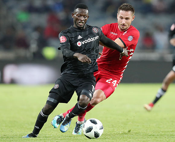 Augustine Mulenga of Orlando Pirates challenged by Ryan Rae of Highlands Park during the Absa Premiership 2018/19 match between Orlando Pirates and Highlands Park at the Orlando Stadium, Soweto on 04 August 2018 ©Muzi Ntombela/BackpagePix