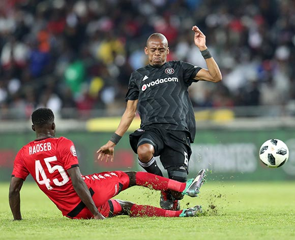 Gladwin Shitolo of Orlando Pirates tackled by Denzil Haoseb of Highlands Park during the Absa Premiership 2018/19 match between Orlando Pirates and Highlands Park at the Orlando Stadium, Soweto on 04 August 2018 ©Muzi Ntombela/BackpagePix
