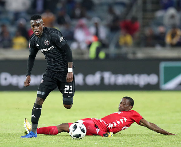 Innocent Maela of Orlando Pirates tackled by Lindokuhle Mbatha of Highlands Park during the Absa Premiership 2018/19 match between Orlando Pirates and Highlands Park at the Orlando Stadium, Soweto on 04 August 2018 ©Muzi Ntombela/BackpagePix