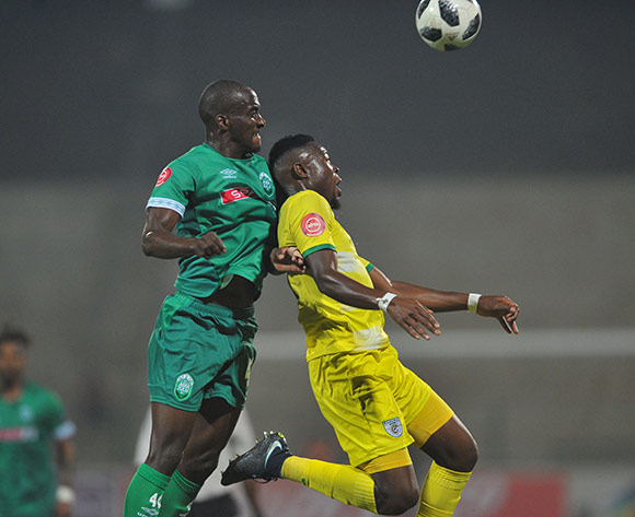 Ranga Chivaviro of Baroka FC is challenged by Xolani Slawula of AmaZulu  during the Absa Premiership match between AmaZulu and Baroka FC on the 04 August 2018 at King Zwelithini Stadium Pic Sydney Mahlangu/BackpagePix
