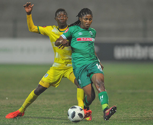 Siyethemba Sithebe of AmaZulu is challenged by Bonginkosi Makume of Baroka FC  during the Absa Premiership match between AmaZulu and Baroka FC on the 04 August 2018 at King Zwelithini Stadium Pic Sydney Mahlangu/BackpagePix
