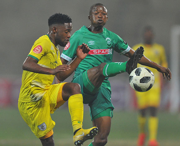 Butholezwe Ncube of AmaZulu challenges Mdududzi Mdantsane of Baroka FC  during the Absa Premiership match between AmaZulu and Baroka FC on the 04 August 2018 at King Zwelithini Stadium Pic Sydney Mahlangu/BackpagePix