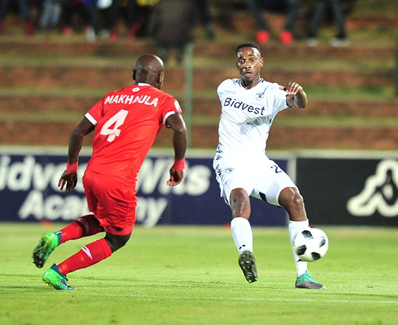 Mxolisi Machupu of Bidvest Wits challenged by Makhehlene Makhaula of Free State Stars during the Absa Premiership 2018/19 match between Bidvest Wits and Free State Stars at Bidvest Stadium, Johannesburg on 04 August 2018 ©Samuel Shivambu/BackpagePix