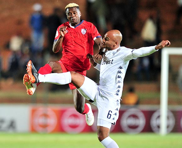Harris Tchilimbou of Free State Stars challenged by Robyn Johannes of Bidvest Wits during the Absa Premiership 2018/19 match between Bidvest Wits and Free State Stars at Bidvest Stadium, Johannesburg on 04 August 2018 ©Samuel Shivambu/BackpagePix